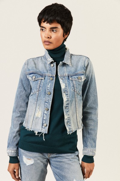 Jeansjacke 'Cara' im Destroyed-Look Blau