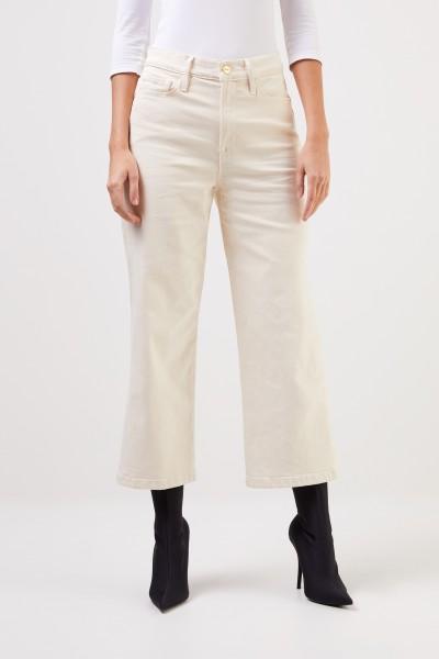 Frame Highrise Jeans 'Ali Wide Crop' Ecru