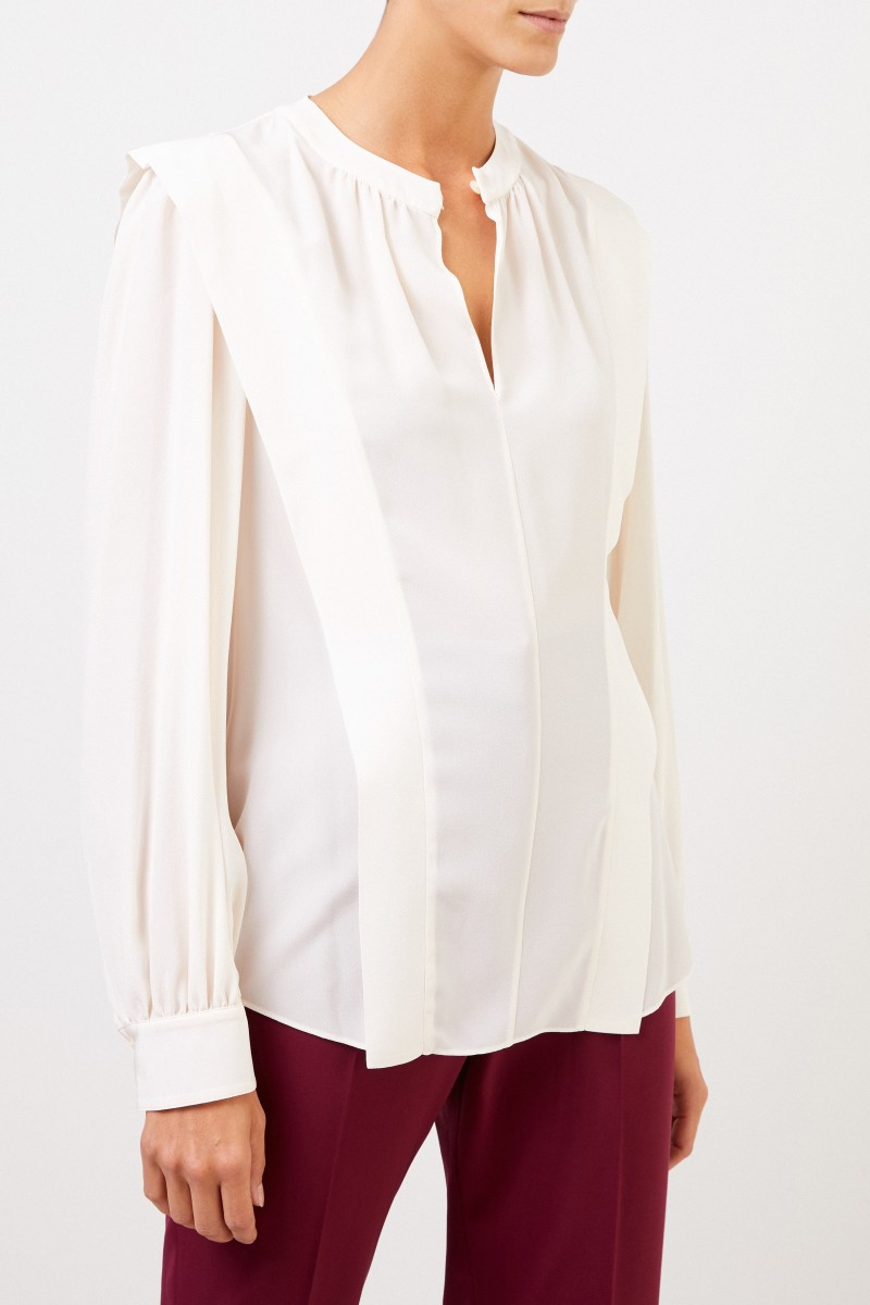 Stella McCartney Seidenbluse mit Schlitz Weiß