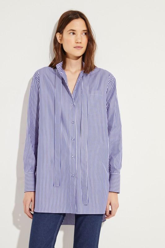 Gestreifte Oversize-Bluse Blau/Weiß