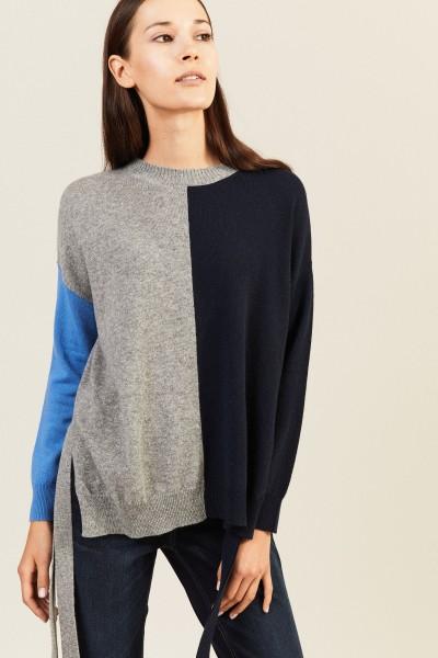 Cashmere-Pullover mit Bindeelementen Multi
