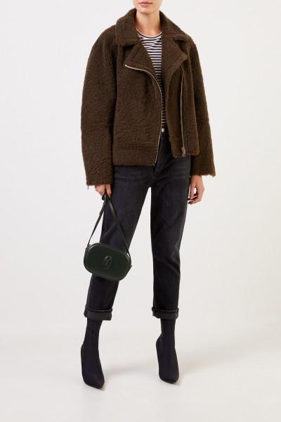 Yves Salomon Lammfelljacke mit Reißverschlüssen Khaki