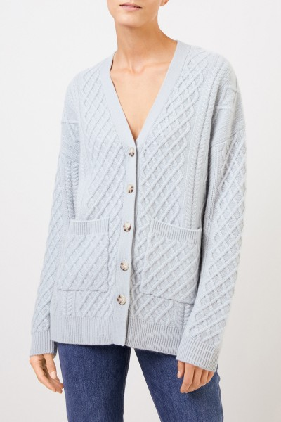 Uzwei Cashmere cardigan with cable stitch Sea Green