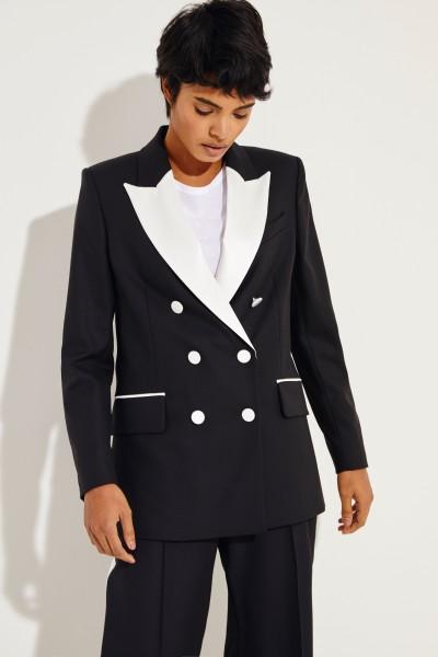 Woll-Blazer 'Audrey' mit abgesetztem Revers Schwarz/Weiß