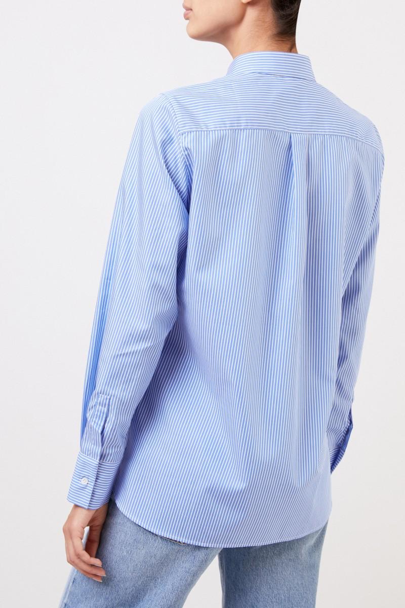 "Gestreifte Baumwoll-Bluse ""Andrea"" Blau/Weiß"