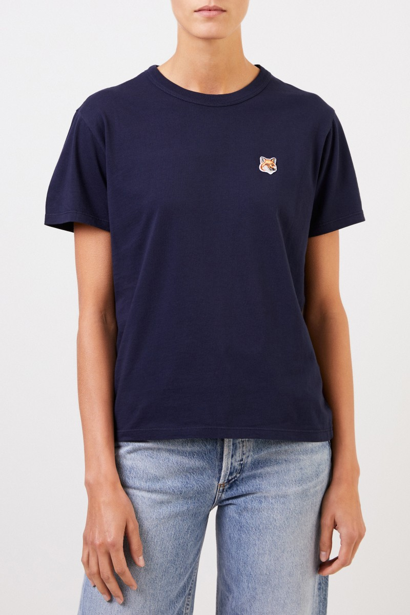 Maison Kitsuné T-Shirt 'Fox Head Patch' Marineblau