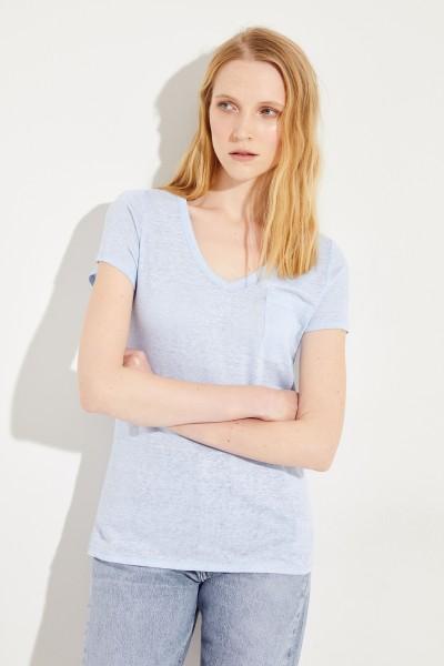 Leinen T-Shirt Hellblau