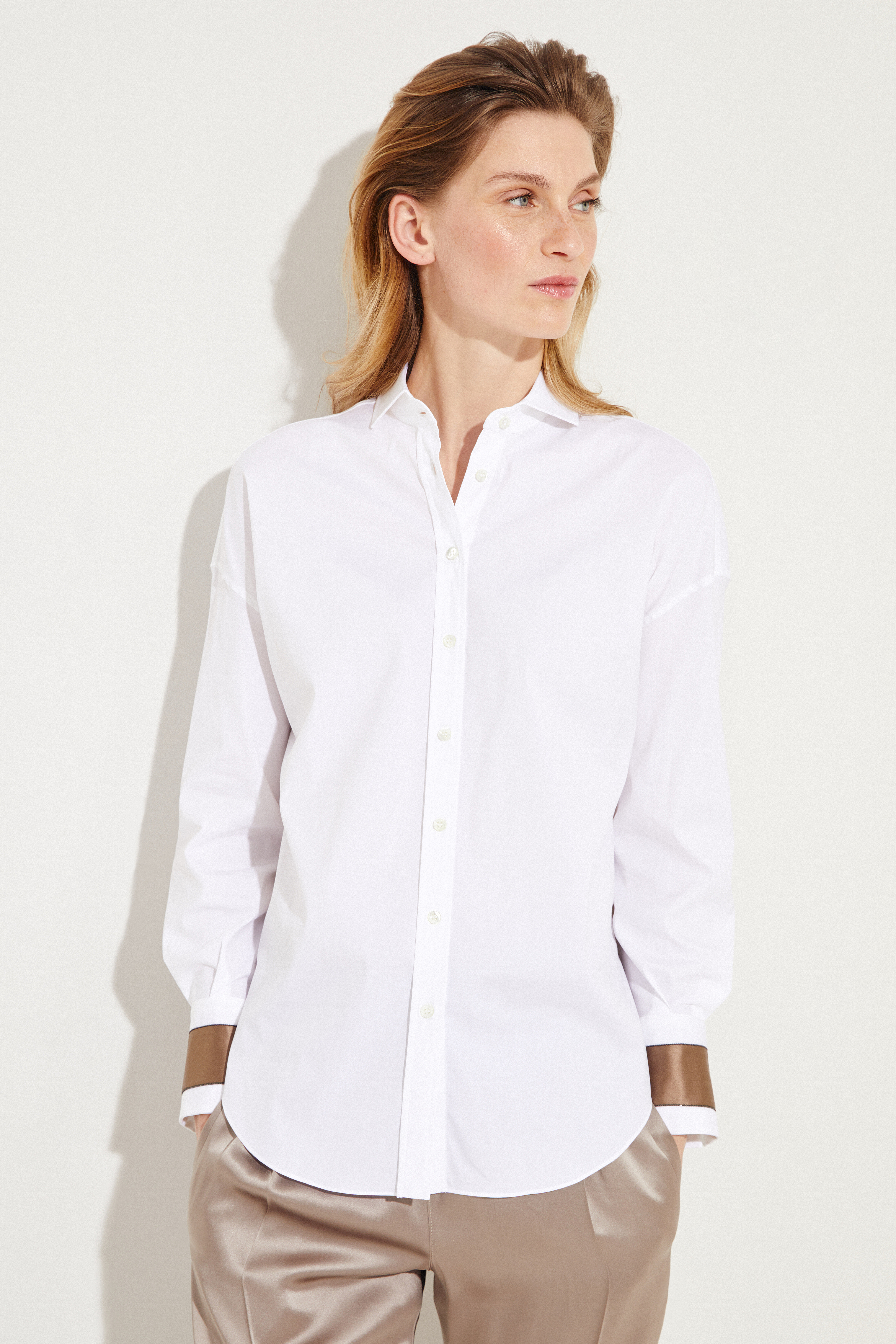 a69eef2ace5a16 Blouse with silk details White Brown