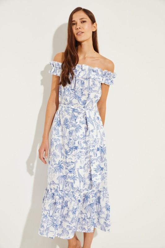 Leinen-Kleid mit Bindedetail Blau/Weiß