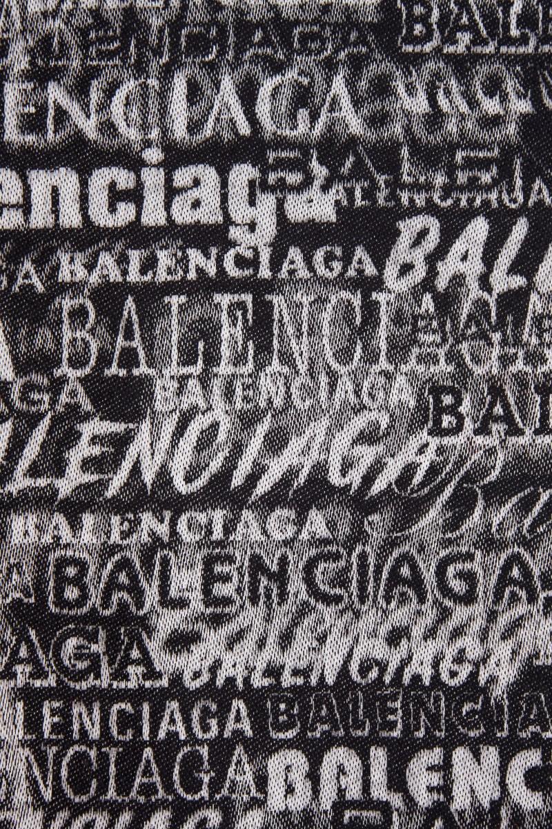 Balenciaga Woll-Seiden Schal mit Logo-Detail Schwarz/Weiß