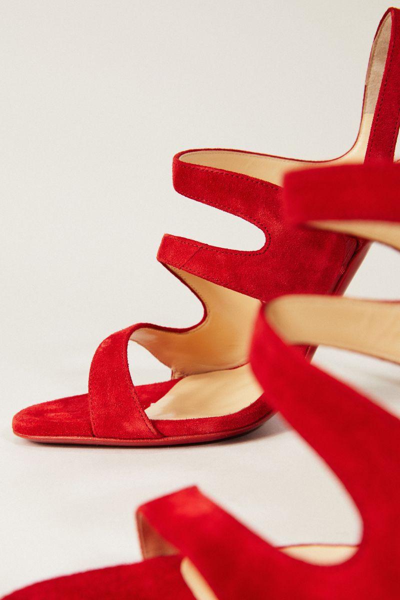 Veloursleder-Sandaletten 'Vavazou' Rot