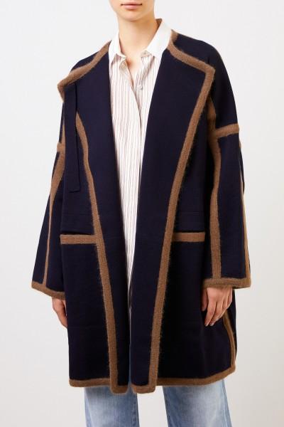 Chloé Woll-Mantel mit Streifendetails Dark Denim