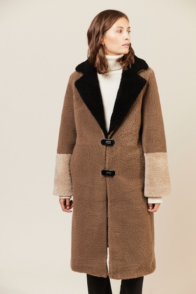 Lammfellmantel 'Febbe Coat' Braun/Beige