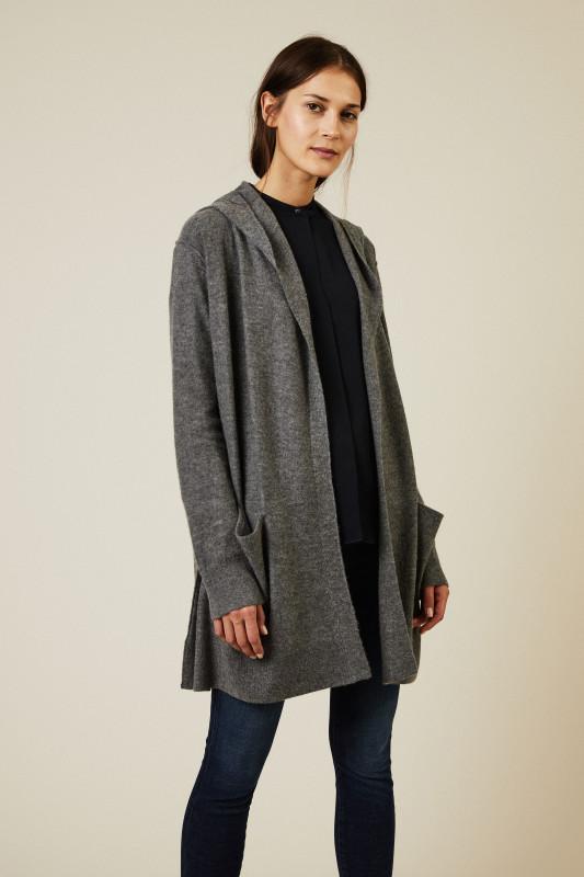 Cashmere-Cardigan Grau