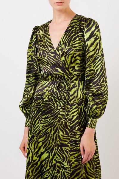 Ganni Seiden-Wickelkleid mit Tigerprint Multi