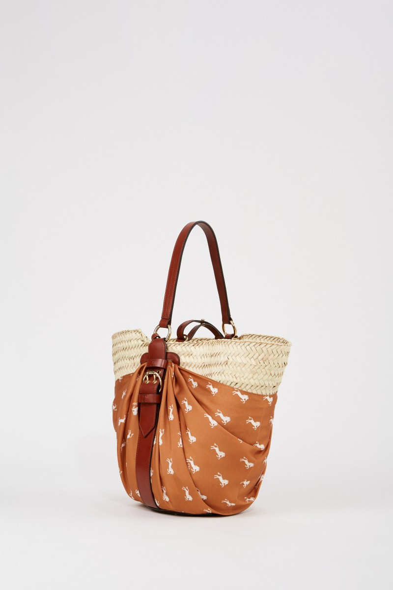 Chloé Basket bag with cloth detail Multi