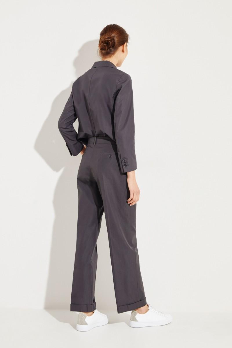 Baumwoll-Hose mit weitem Bein Grau