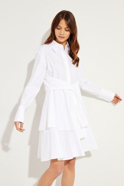Hemdblusenkleid mit Bindedetail Weiß