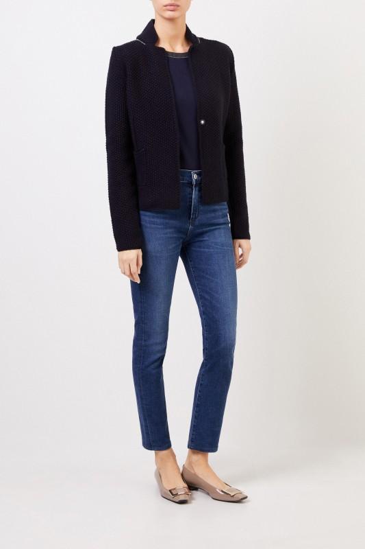 Woll-Seiden-Blazer mit Perlenverzierung Marineblau