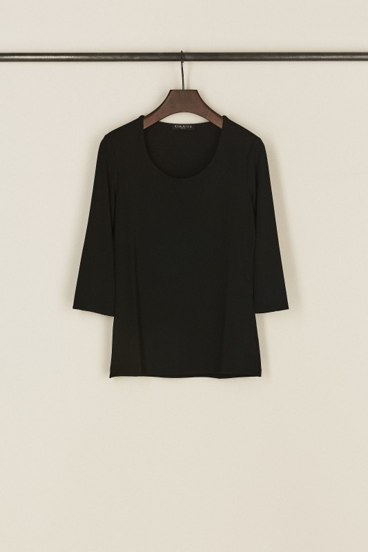 Basic-Shirt mit Rundhals-Ausschnitt Schwarz