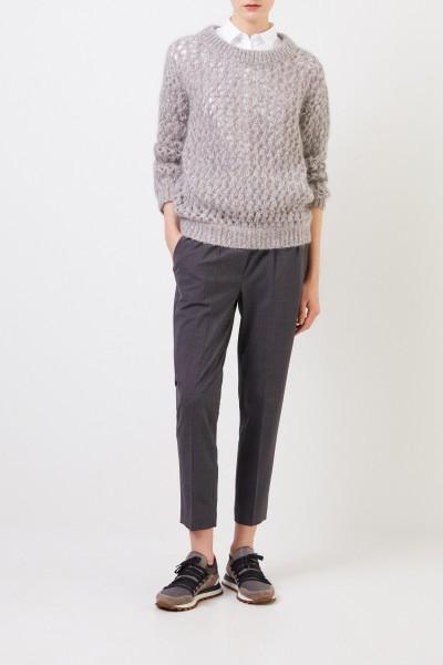 Grobstrick Mohair-Cashmere-Pullover Grau
