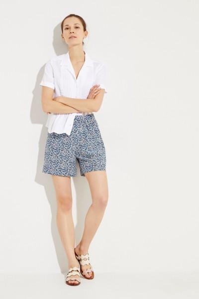Gemusterte Seiden-Shorts Blau/Multi