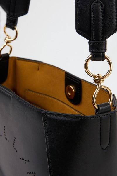 Stella McCartney Mini-Schultertasche mit Logo-Riemen Schwarz