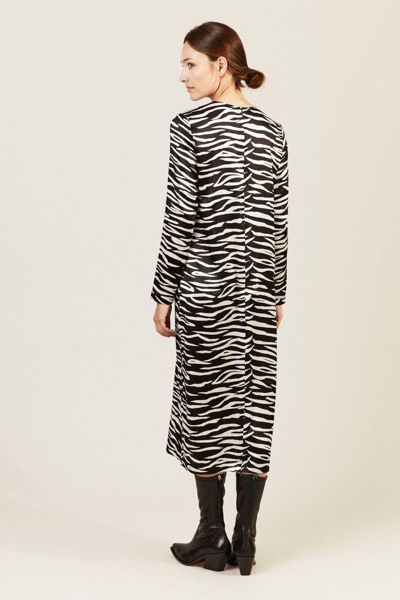 Seidenkleid 'Blakely Silk' mit Animalprint Schwarz/Weiß