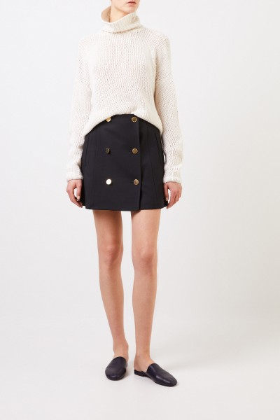 Wool skirt 'Alexandra' with buttons Black