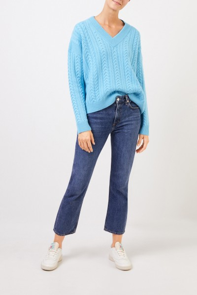 V-neck cashmere pullover with cable stitch Light Blue
