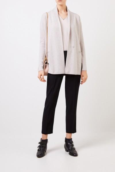 Woll-Seiden-Cardigan mit Perlenverzierung Beige