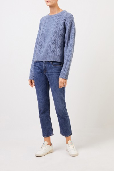 Uzwei Cashmere pullover with cable stitch Blue Melange