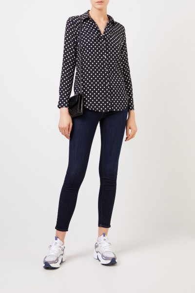 Printed silk blouse 'Slim Signature' White/Black