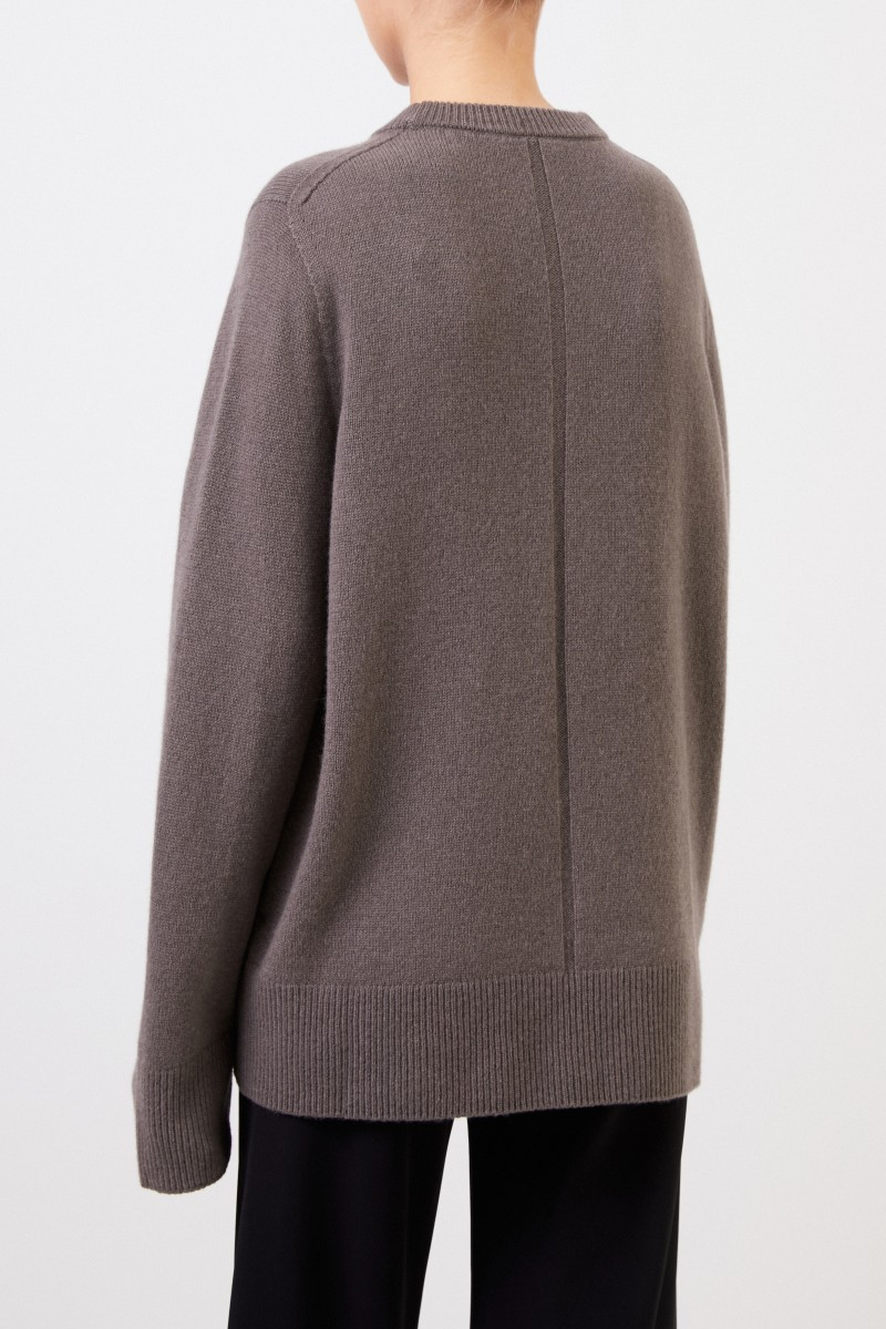 The Row Woll-Cashmere-Pullover 'Sibina' Grey/Braun