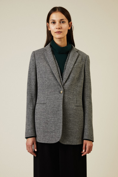 Woll-Blazer mit Fransendetails Grau
