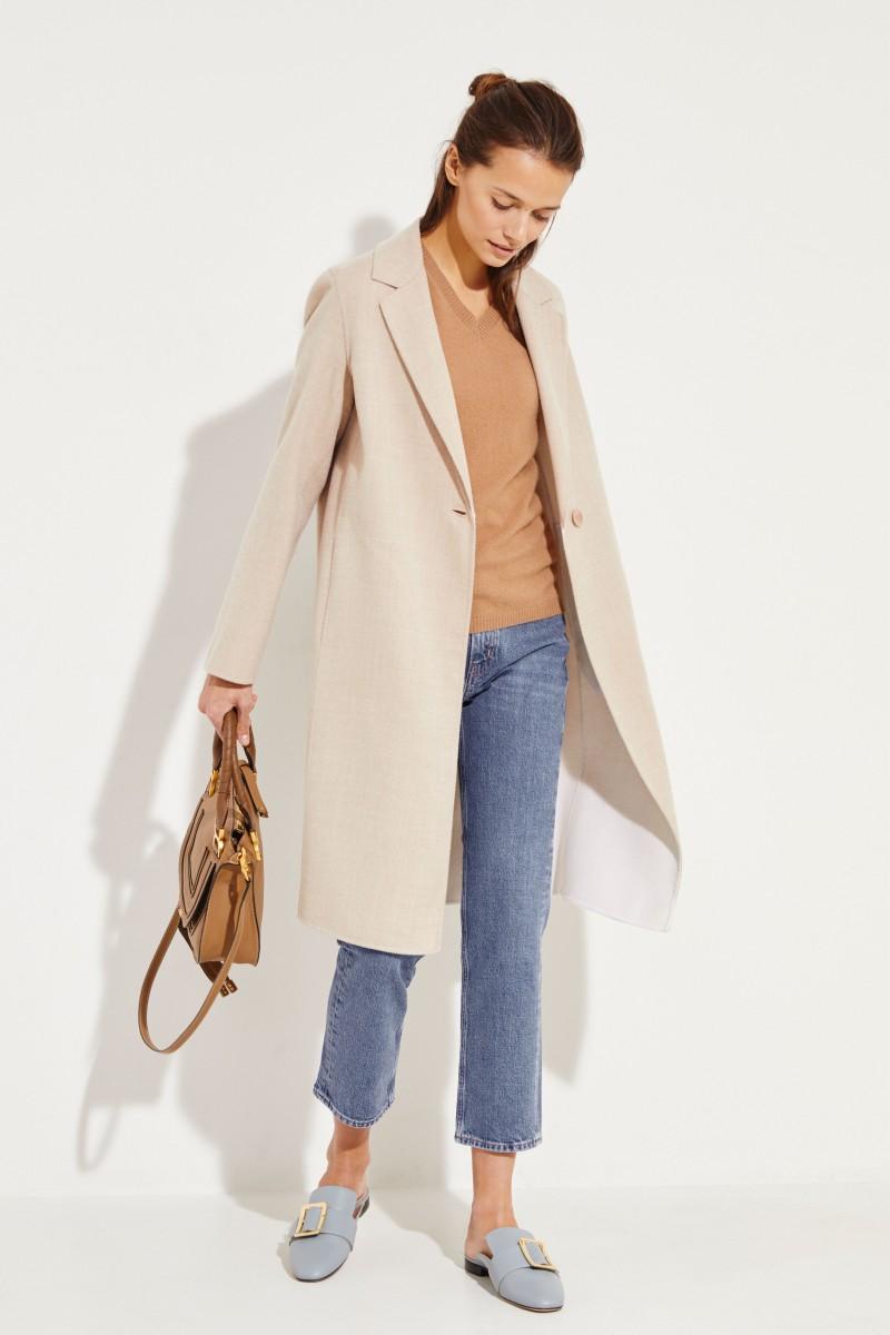 Kurzarm Cashmere-Pullover mit V-Neck Caramel