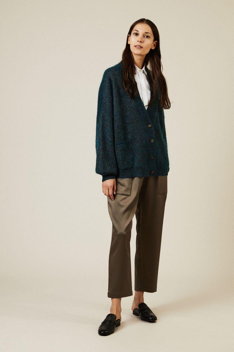 Oversize Mohair-Cardigan mit Lurexdetails Grün