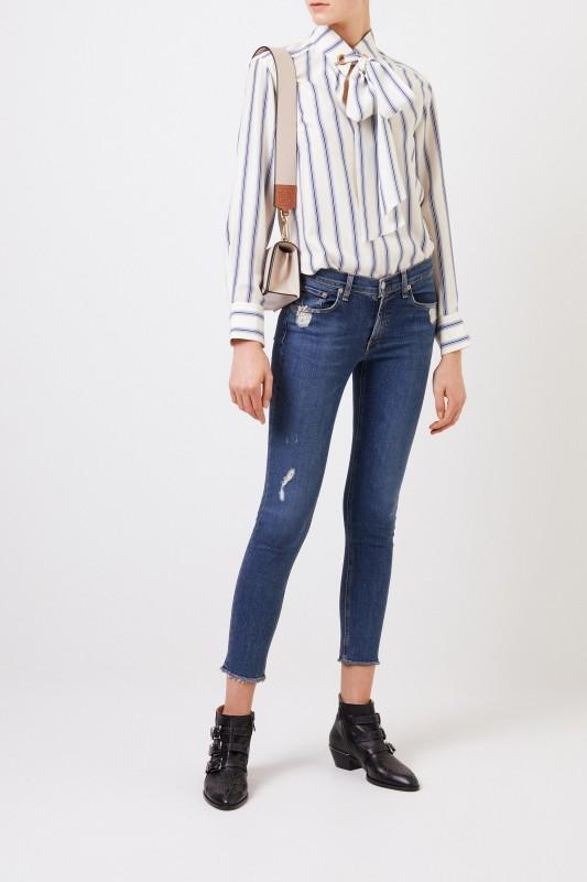 Rag&Bone Skinny-Jeans im Used-Look Blau