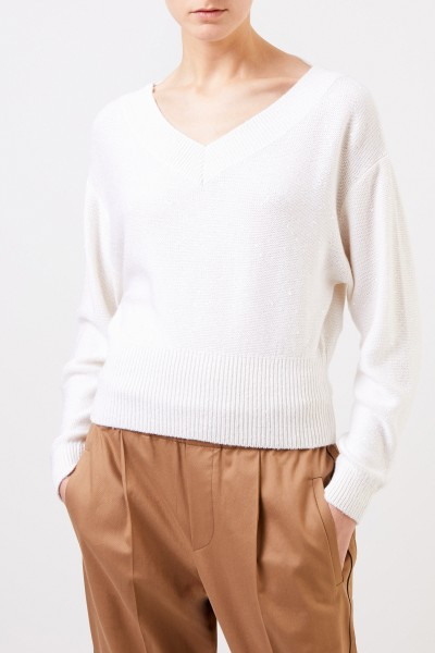 Brunello Cucinelli Cashmere silk sweater with sequins White