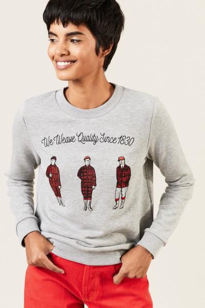 Baumwoll-Pullover mit Stickerei Grau