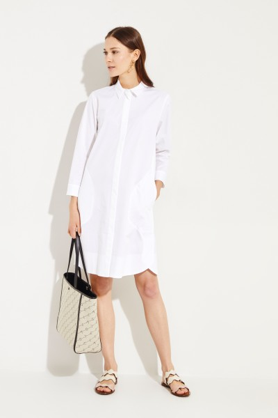 Baumwoll-Hemdblusenkleid Weiß