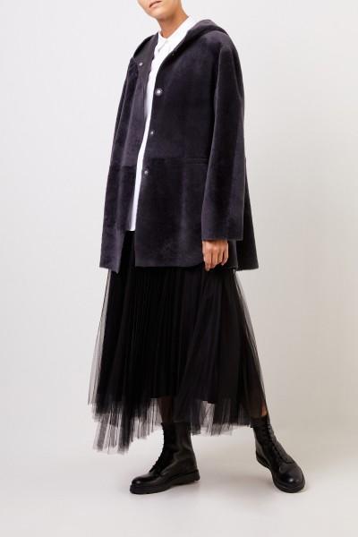 Fabiana Filippi Lambskin coat with hood Grey