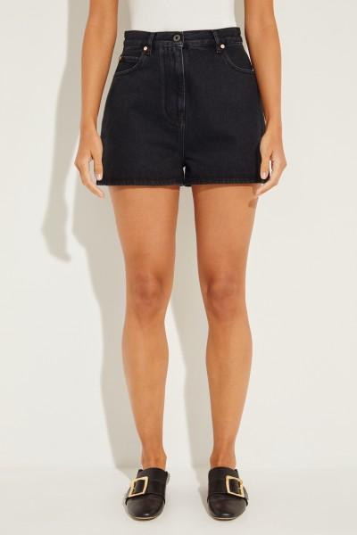 Jeans-Shorts mit Logo-Aufdruck Schwarz