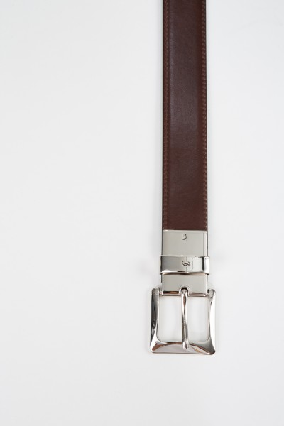 Gräfin v. Lehndorff Leather belt made of smooth leather Black/Brown
