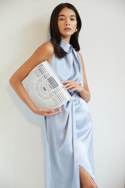 Midi-Kleid 'Kaila' mit Bindedetails Blau