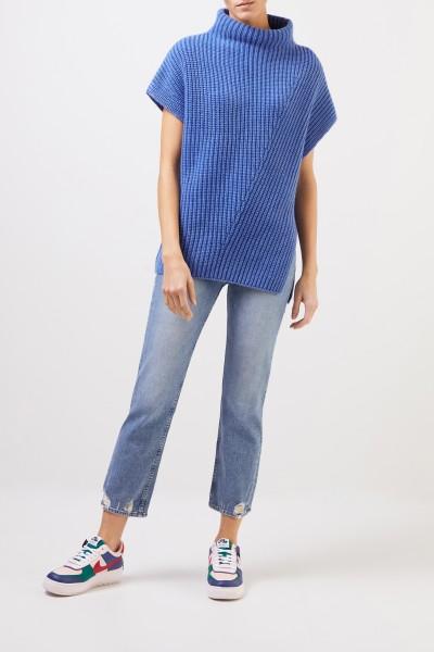 Iris von Arnim Short sleeve cashmere pullover 'Alva' Blue
