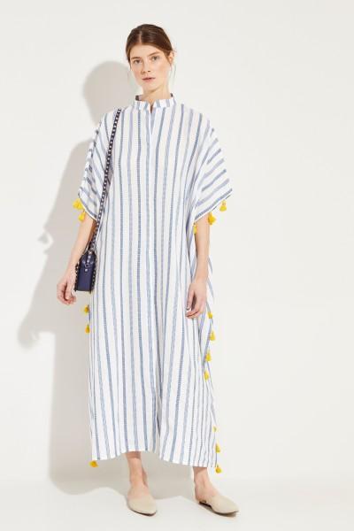 Baumwoll-Kleid 'Valentina Kimono' Blau/Gelb