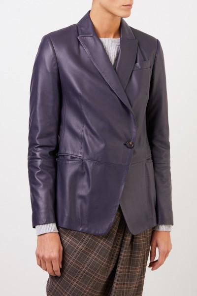 Brunello Cucinelli Leder-Blazer mit Perlenverzierung Dunkelblau