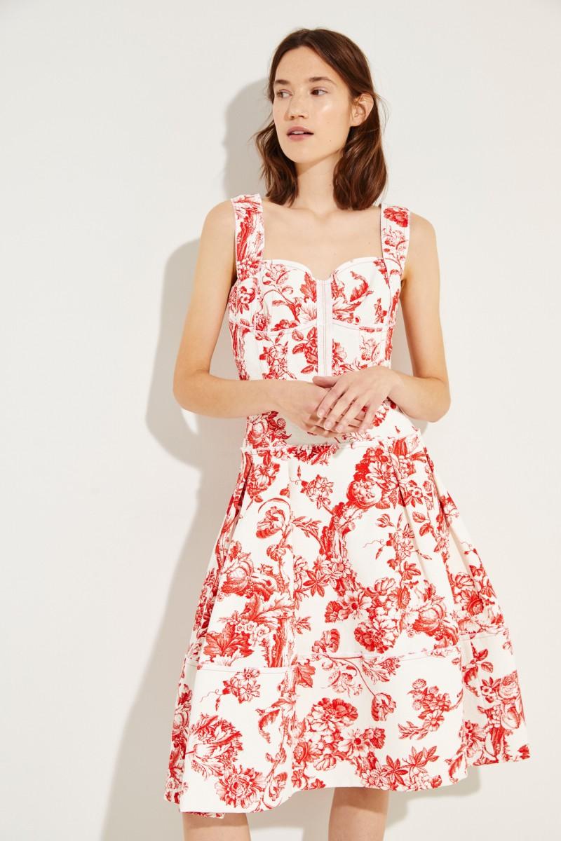Cocktailkleid mit Blumenprint Weiß/Rot