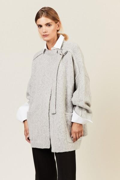 Wolljacke mit integrierter Schnalle Cozy Grey